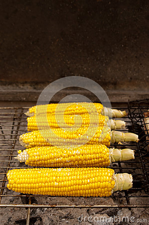 Corn with salt on BBQ