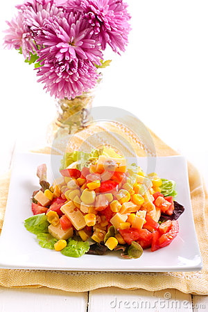 Free Corn, Tomato And Cheese Salad Royalty Free Stock Photography - 63354237