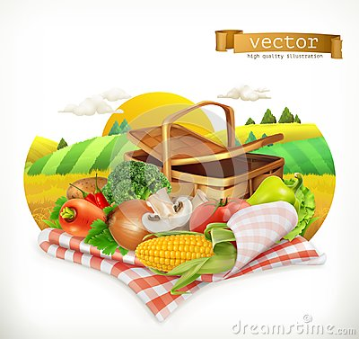 Free Corn, Tomato, Onions, Pepper, Carrot, Lettuce And Parsley. Isolated 3d Vector Icon Royalty Free Stock Image - 103267116