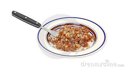 Corned beef hash on plate with fork