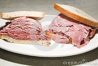 Corned beef tongue sandwich rye bread