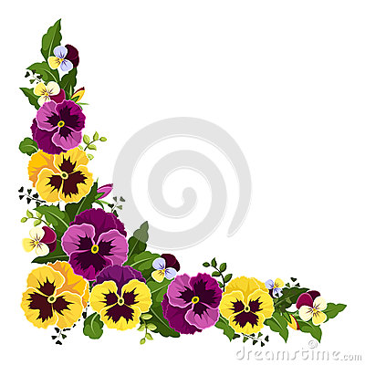 Free Corner Background With Pansy Flowers. Vector Illustration. Royalty Free Stock Photography - 40744307