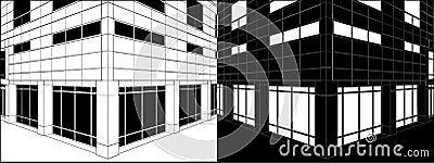 Corner Of Business Building Negative Vector 03
