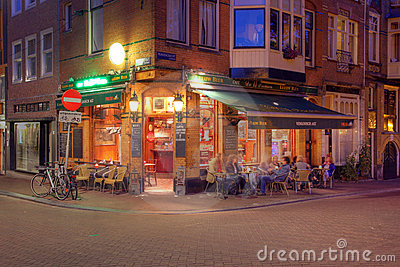 Corner Coffee-shop in Amsterdam, Netherlands Editorial Photo