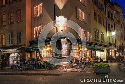 Corner coffee-shop in Geneva, Switzerland Editorial Image