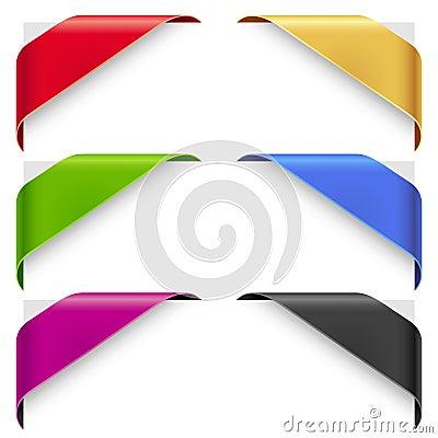 Corner color ribbons vector set