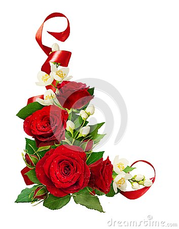 Free Corner Composition With Red Roses And Jasmine Flowers With Silk Royalty Free Stock Image - 112402396