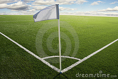 Corner flag on soccer field