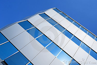 Corner of a glass office building