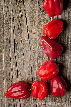 Free Corner Of Red Chili Habanero Peppers Stock Photography - 23511452