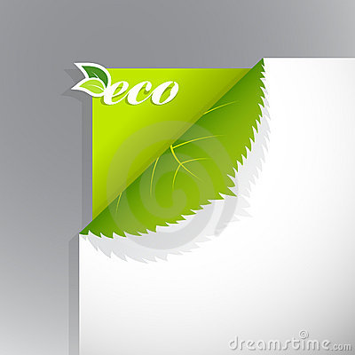 Corner on paper with eco sign.
