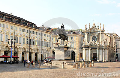 Corner of Piazza San Carlo, Turin, Italy Editorial Photography