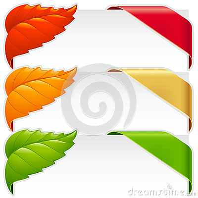 Corner ribbons and fallen leaf vector set