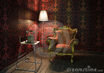 Corner of the room with red wallpaper