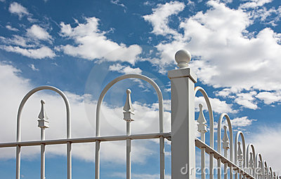 Corner of White Wrought Iron Fence