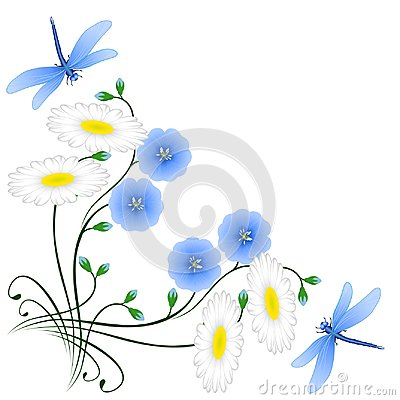 Free Corner With Flowers Of Blue Flax, Camomiles And Dragonflies. Stock Image - 113736661