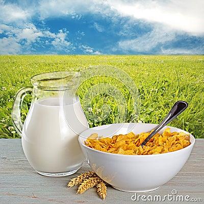 Free Cornflakes And Milk Jug Royalty Free Stock Photo - 54855515