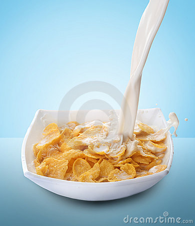 Free Cornflakes And Milk Splash Stock Images - 13263714