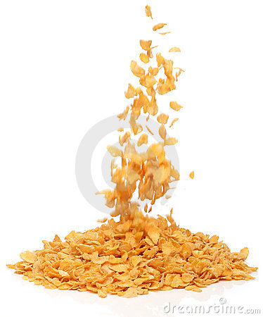 Cornflakes falling into a pile,