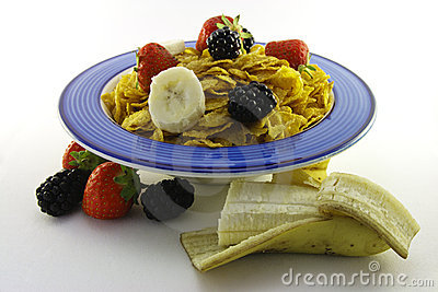 Cornflakes and Fruit in a Blue Bowl with Banana
