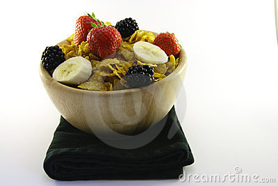 Cornflakes and Fruit in a Bowl with Napkin