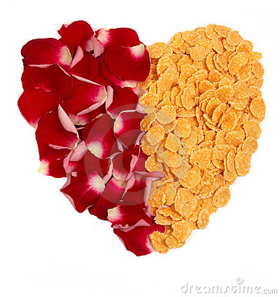 Cornflakes and rose petals heart