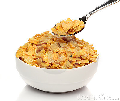 Cornflakes on a spoon