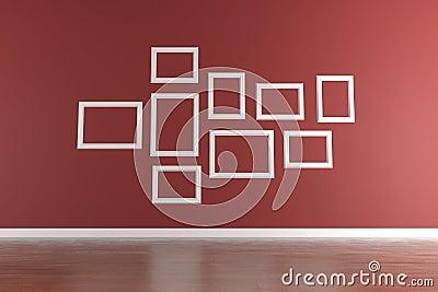 Cornici bianche sulla parete rossa immagine stock for Cornici foto bianche