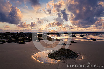 Cornish Beach at Sunset