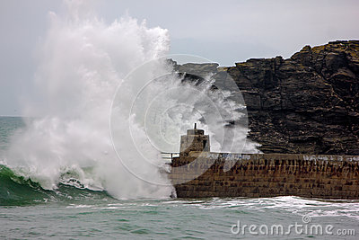 Cornish coast gets battered by storms Editorial Image