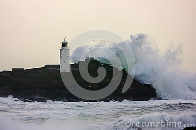 Cornish coast gets battered by storms Editorial Stock Image
