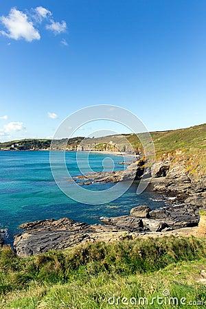 Cornish coast Kenneggy Sand Cornwall England near Praa
