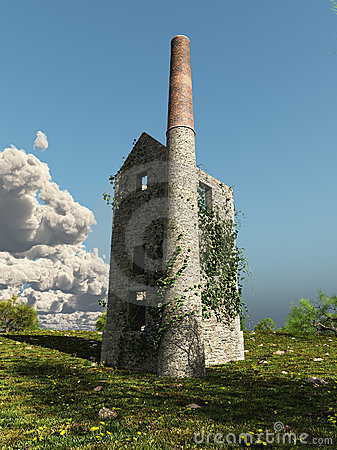 Free Cornish Mine Engine House With Ivy Stock Photography - 14953582