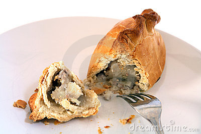Cornish pasty broken open and fork