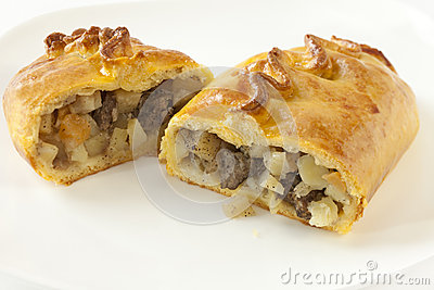 Cornish Pasty Cut in Halves