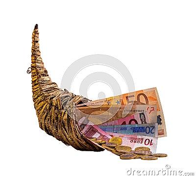 Free Cornucopia With Money - Isolated On White Stock Photos - 33917833