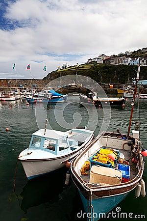 Cornwall boats harbor Mousehole fishing villlage