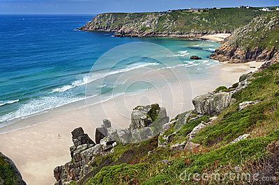 cornwall Porthcurno Beach  from logan rock