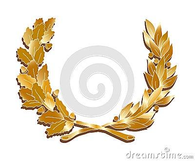 Corona de oro de las hojas