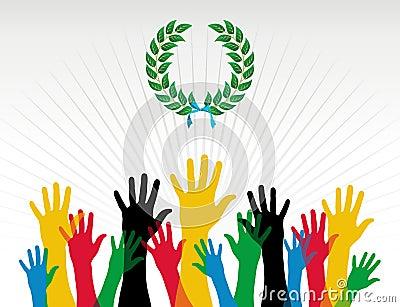 Corona dell alloro di colori delle mani di Olimpiadi
