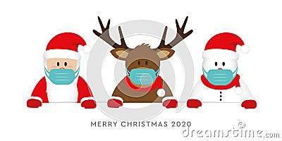 Corona virus christmas 2020 design with cute deer santa claus and snowman cartoon Vector Illustration