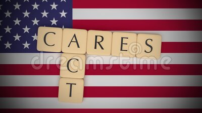 Letter Tiles CARES Act On US Flag, Slow Zoom Out stock video footage