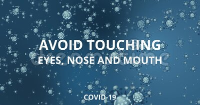 Coronavirus COVID-19. Basic protective measures against the new coronavirus. Wash hands, maintain social distance and clean surfaces, motion virus stock illustration