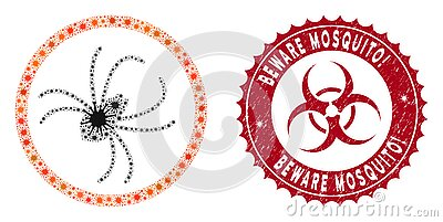 Coronavirus Mosaic Spider Icon with Scratched Beware Mosquito! Stamp Vector Illustration