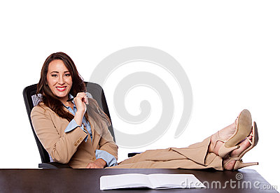 Corporate business woman at desk
