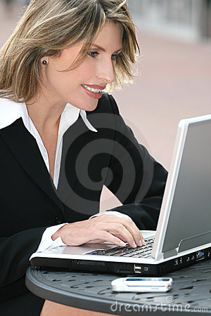 Corporate, Business Woman with Laptop Outdoors