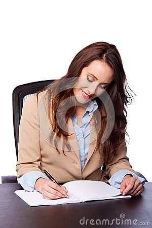 Corporate business woman writing