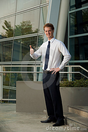 Corporate Employee Thumbs Up Office Building
