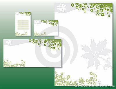 Corporate Identity Set - Flower Border in Green