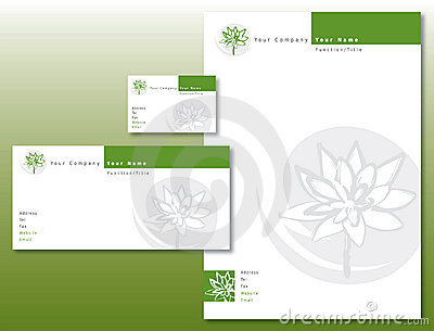 Corporate Identity Set - Lotus Flower Green/Gray